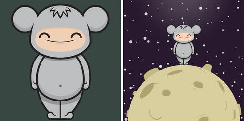 Cutie on the moon by eatcrap
