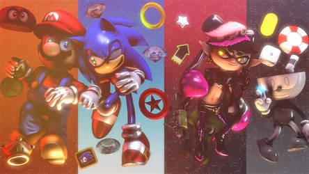 Crossover :~Mario.Sonic.Splatoon.Cuphead~: by CharCharRose131