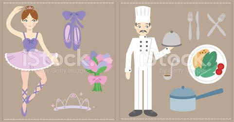 Ballerina and Chef iStockphoto Illustrations by StarGirlArt