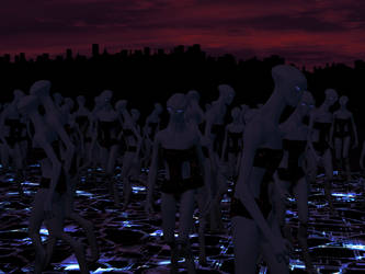Alien Crowd at Night by portisHeart