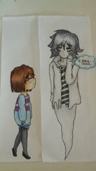 Frisk and Napstablook by Lady-Rosa-chan