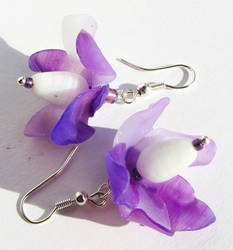 Fairy Flower Earrings Violet Lilac Lavender by Ravensilver