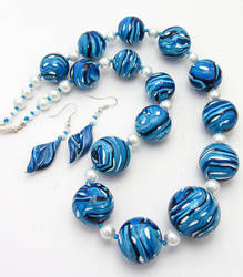 Polymer Clay Blue Bead Necklace by Ravensilver