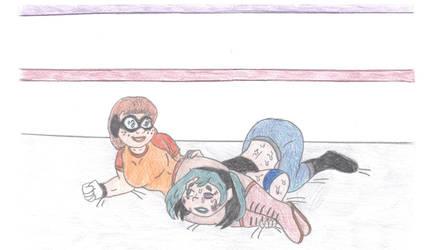 Wrestling Velma vs Gwen by Jose-Ramiro