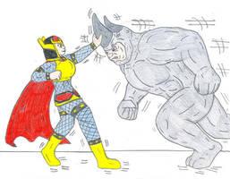 Big Barda vs The Rhino by Jose-Ramiro