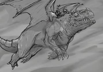 Dragonrider sketch by EleMont