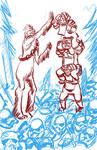 Wookie Ewoks teamwork WIP by mannycartoon