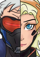 Soldier 76 and Mercy by Shima0021