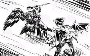 Quick Sketch: Angel fight sketch no. 1 by avimHarZ