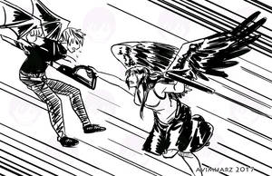 Quick Sketch: Angel fight sketch no. 3 by avimHarZ