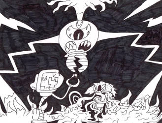 Huffingtober 22, The Cyclops, Goblin and Virus by thecrazyworldofjack