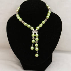 Green Pearl Necklace by Wings-On-Fire