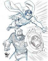 SUPERMAN and CAPTAIN AMERICA by Wieringo