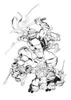 TMNT IDW #1 inks by MichaelDooney