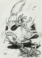 Catgirl space pilot inktober #7 by MichaelDooney