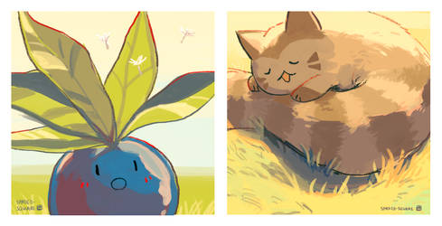 Oddish and Furret by spaded-square