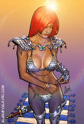 Red Sonja armoring up by artzilla