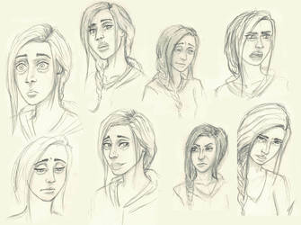 Face expression sketches by PenguinPhilip