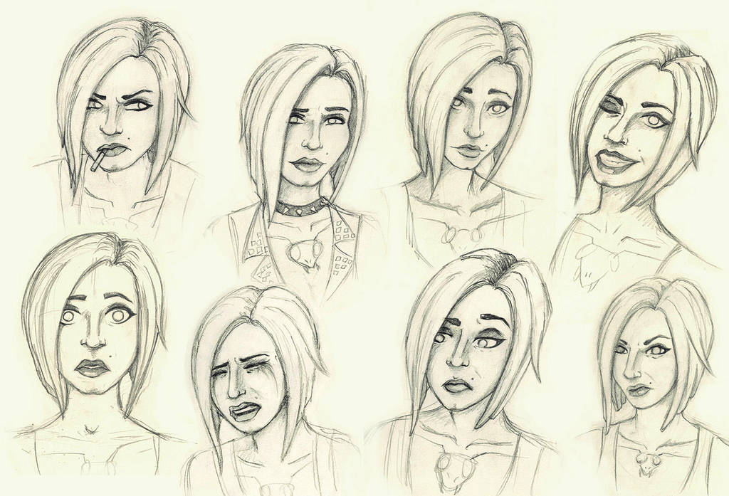 Face expression sketches #3 by PenguinPhilip
