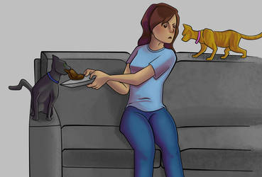 Eating With Cats by toyas-world