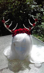 Red Blossom Antlers by littlebitakit