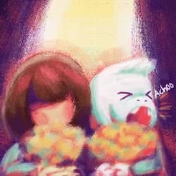 Chara and Asriel by jumpingllama2000