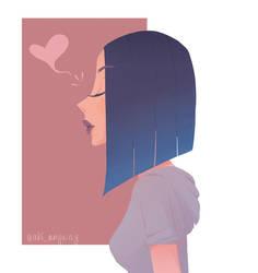 Blue Hair Girl by AkiTheBonez