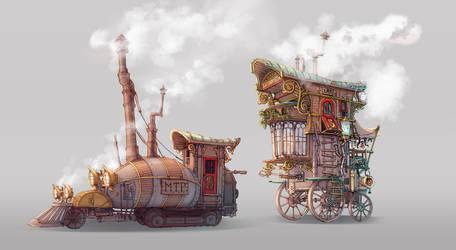 Steampunk-Gypsy Wagoon and Steam Locomotive by AkiTheBonez