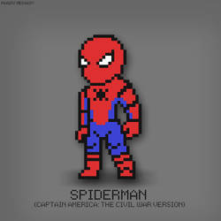 Spiderman Civil War Suit Pixel Art by MegoMagdy15