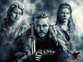 Princess Aslaug, Ragnar Lothbrok, Lagertha by thecasperart