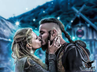 Ragnar Lothbrok and Lagertha by thecasperart