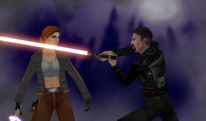 Mara Jade vs. Kyle Katarn by oliatoth