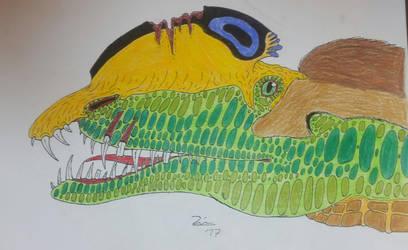 Dilophosaurus wetherilli head  by TheDubstepAddict