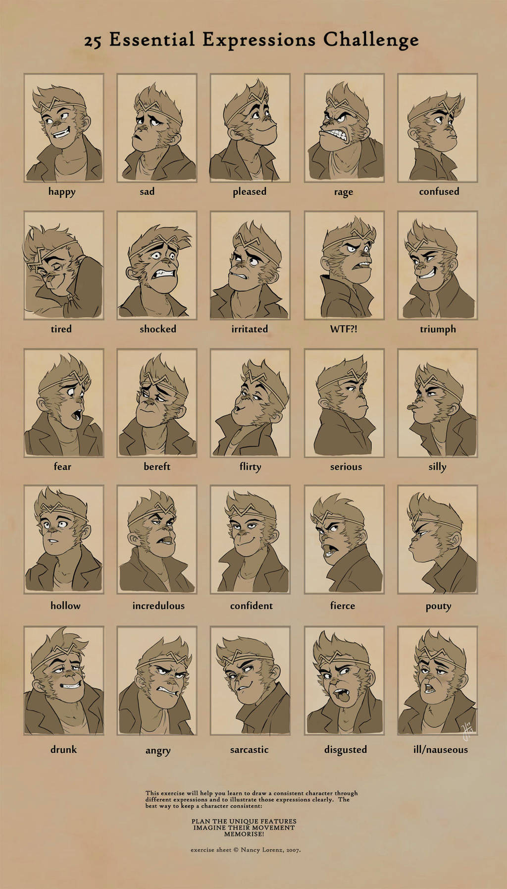 Expression Sheet Monkey by JustaBlink