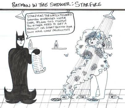 Batman in the Shower: Starfire by brensey