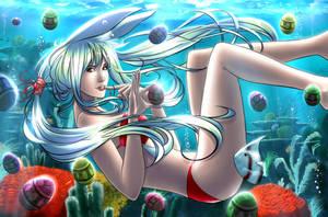 OC Saku - Spring in the sea by eHillustrations