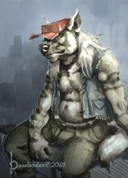Striped hyena Painting by BASELARDER