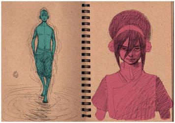Aang and Toph by Maseiya