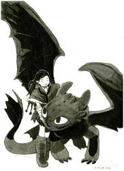 Toothless and Viking Vet - Commission by Maseiya