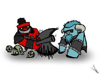 Axe and SpiritBreaker, Dota 2, Concept by DeadlyCartoons