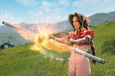 Cosplay: Aerith Casting Phoenix Fire by Adella