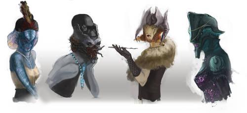 Female Flapper Alien design-Head by chanmeleon