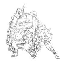 roadhog and junkrat sketch by CalmingSoul