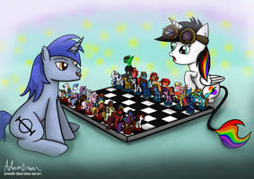 Lightning bliss and Aeon playing chess! by GreenflyArt
