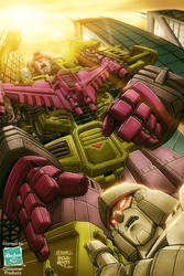 Devastator and Megatron by diablo2003