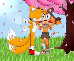 Tails x Sticks by skylerrosehedgehog
