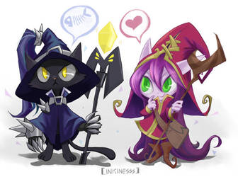 Cat Veigar and Lulu by inkinesss