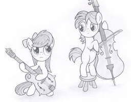 Music Lesson 1 - filly Octavia and colt MandoPony by Agamnentzar