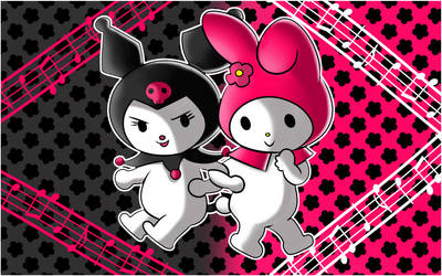 Kuromi and My Melody by MabilaBudgie
