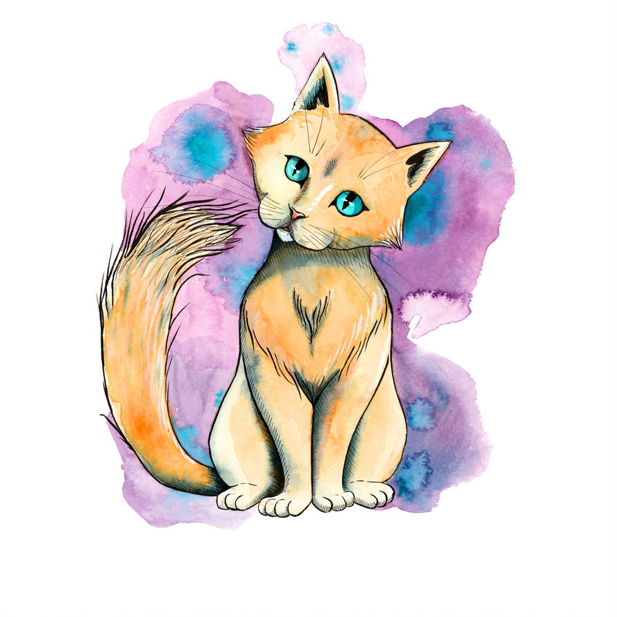 Watercolor kitty by petrunsig